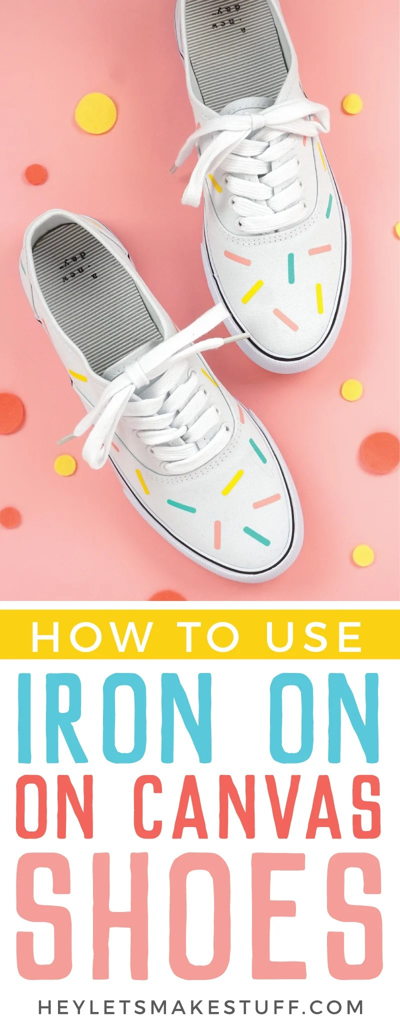 The new Cricut EasyPress Mini makes it easy to make projects like these sprinkle iron on shoes! The small pressing plate and even heating work great on curved surfaces and over seams.  via @heyletsmakestuf