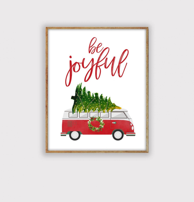 Christmas Bus, Christmas tree print, Christmas Printable Art, Christmas Decor, Holiday Decor Print