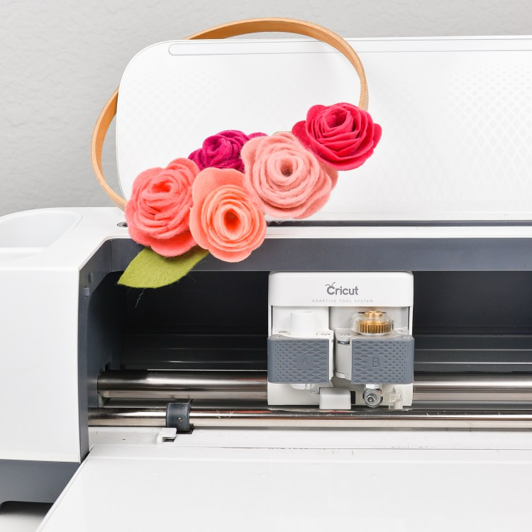 Cricut Maker with felt flower wreath