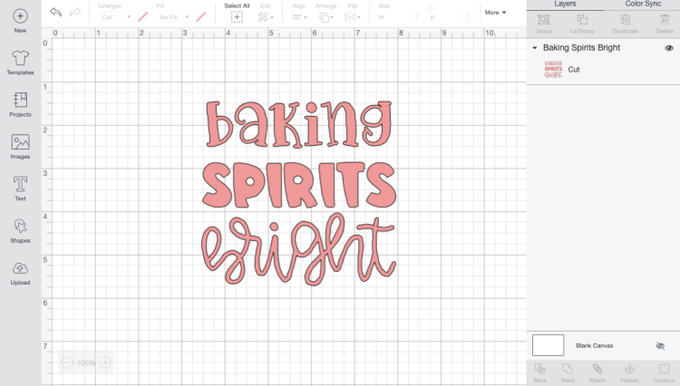 Baking Spirits Bright file in Design Space