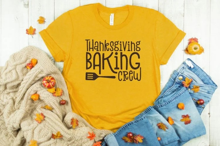 Shirt with Thanksgiving Baking Crew SVG on it.