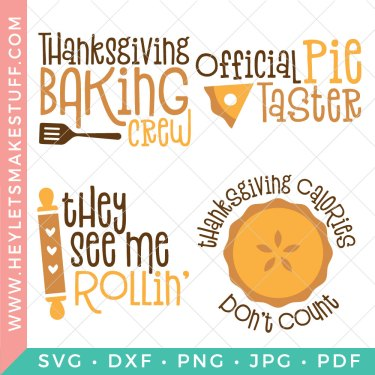 Are you on the Thanksgiving baking crew? Maybe you're the of the official pumpkin pie tasters. Either way, This yummy fall baking SVG bundle is perfect for all of your Thanksgiving and fall baking day crafts!