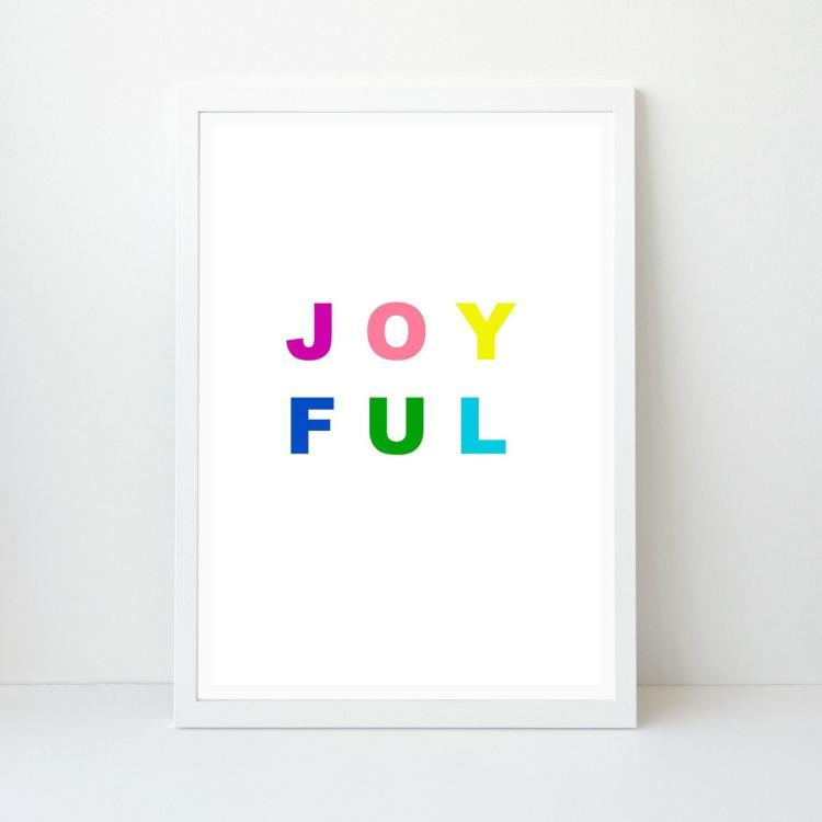 Joyful Holiday Wall Art, Colorful Bright Christmas Art, Printable Print, Instant Download