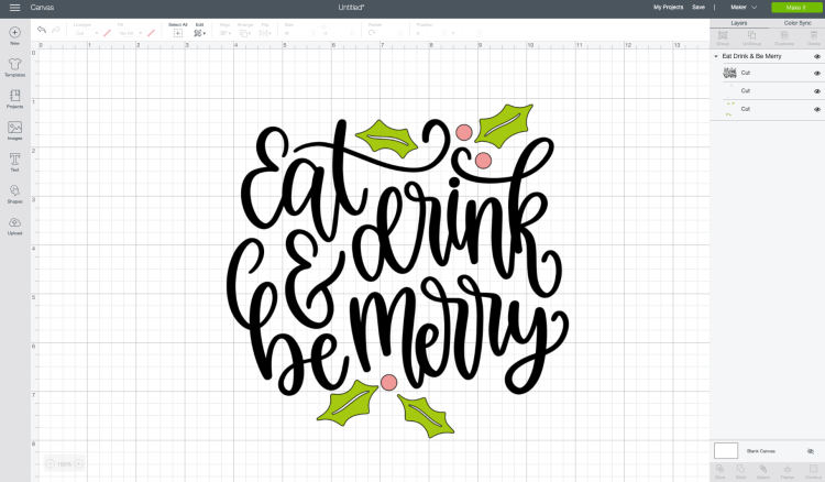 Eat Drink and Be Merry image in Cricut Design Space