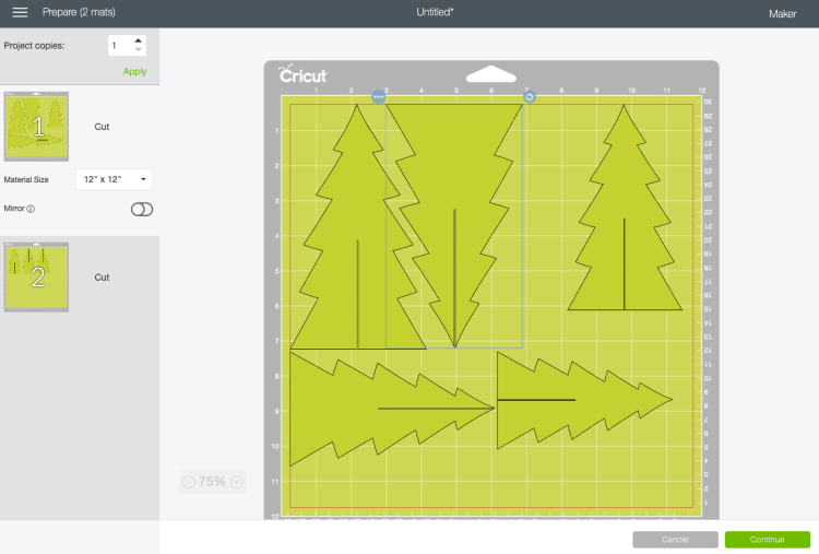 Use the rotate tool to move felt christmas trees.
