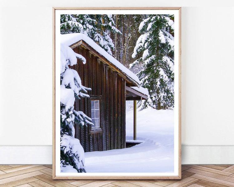 Winter Nature Print, Winter Decor, Forest Cabin Print, Ski House Wall Art, Winter Scene, Christmas Gift Printable, Winter Cabin Forest Photo