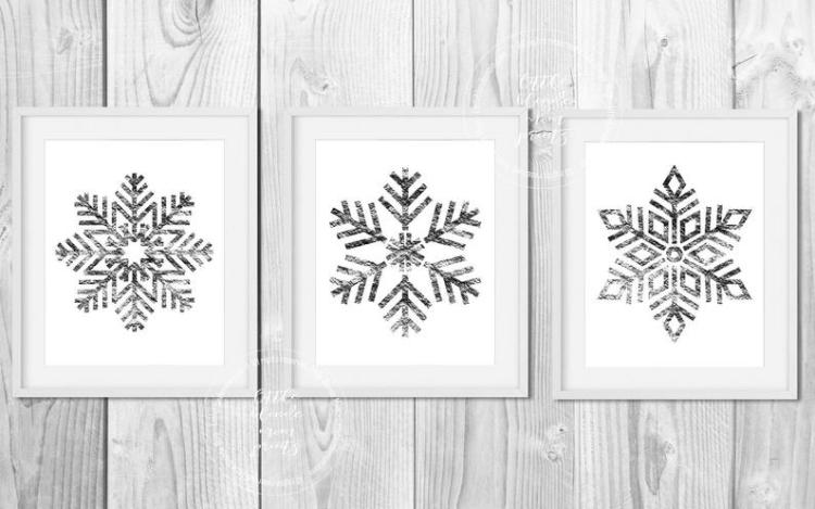 Set of 3 Silver Snowflake Printable Wall Decor - Holiday - Winter - Digital Download - Modern - Simple - Wall Art 8x10 & 5x7