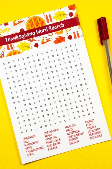 Turkey takes a while to cook. Pass the time with this Free Printable Thanksgiving Word Search. Turkey, pie and all your other Thanksgiving favorites in one fun activity.