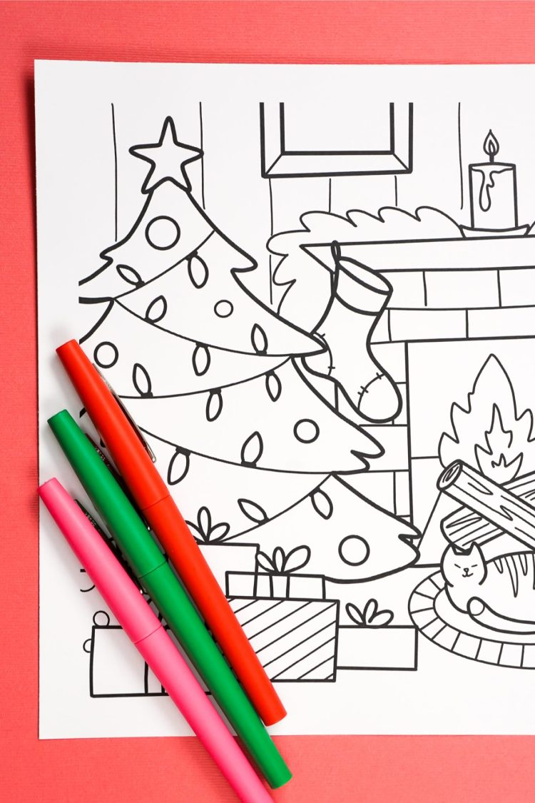 Even if your halls aren't decked and the chestnuts aren't roasting yet, you can still get into the holiday spirit with this cute and festive free Printable Christmas Coloring Page!