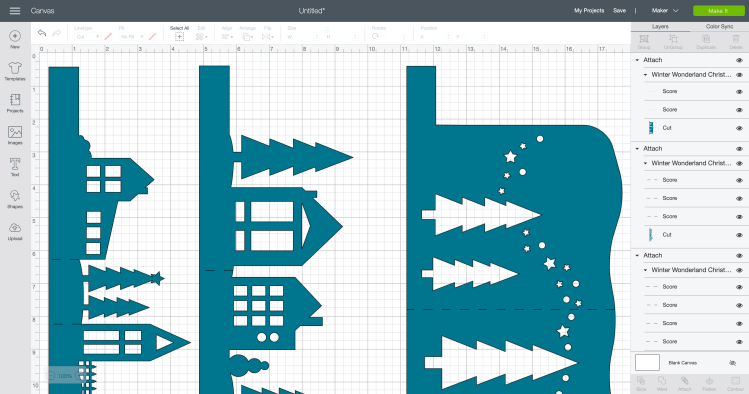 Create score lines in Cricut Design Space and attach to each layer