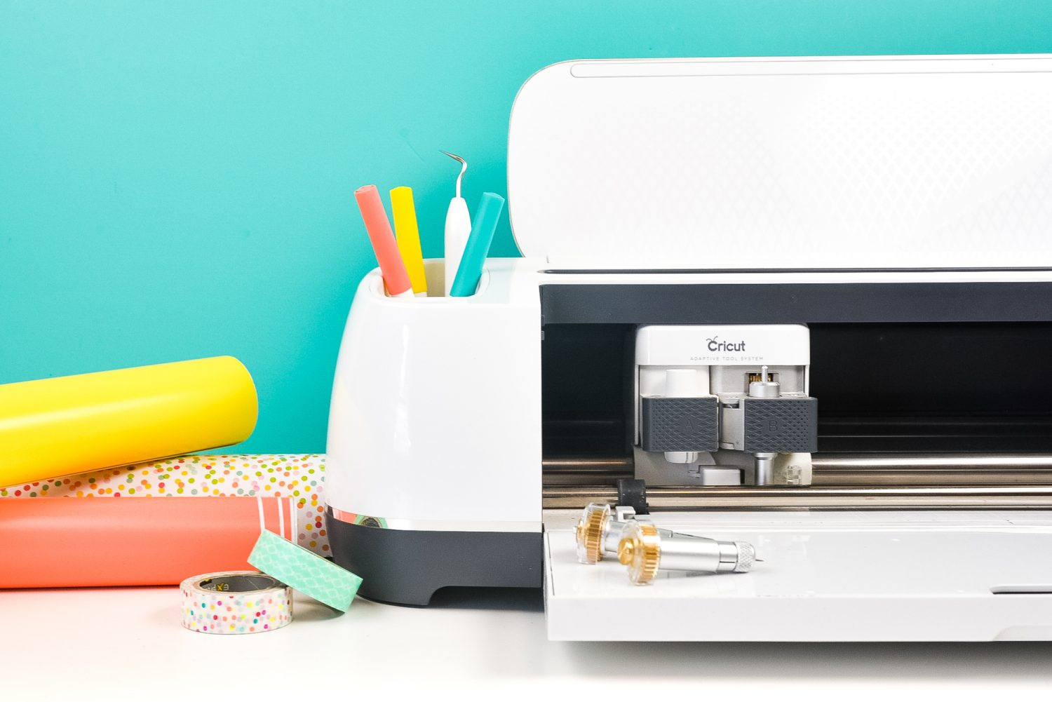 Cricut Maker with materials and pens