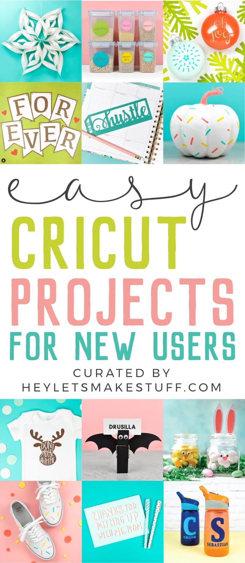 New to using your Cricut? These easy Cricut projects for beginners are the perfect place to start! Get your feet wet with these fun but simple Cricut crafts using your Cricut Explore Air 2 or Cricut Maker machine. via @heyletsmakestuf