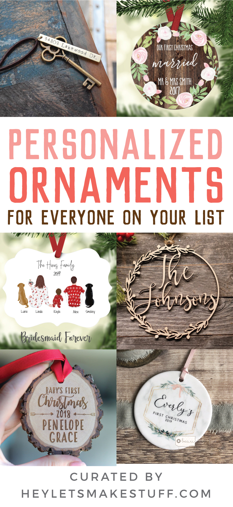 Trim your tree and deck your halls with these beautiful personalized ornaments from Etsy! These ornaments will be cherished for years to come and make great Christmas gifts for family members, new parents, teachers, kids, loved ones, and more.  via @heyletsmakestuf