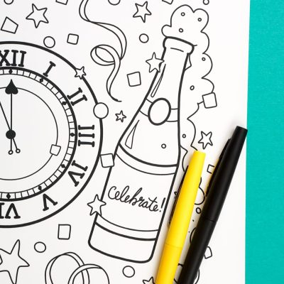 Free Printable New Year's Eve Coloring Page