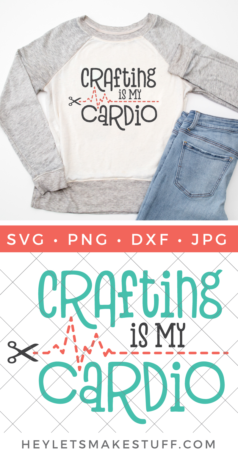 If you're burning calories in your craft room, this Crafting is My Cardio is for you! This free crafting SVG is perfect for t-shirts and hoodies, mugs for your pens, or an apron to protect you from glitter spills! via @heyletsmakestuf