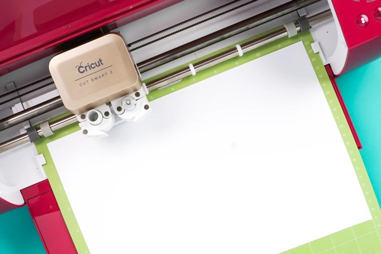 View of Cricut from above with mat inserted