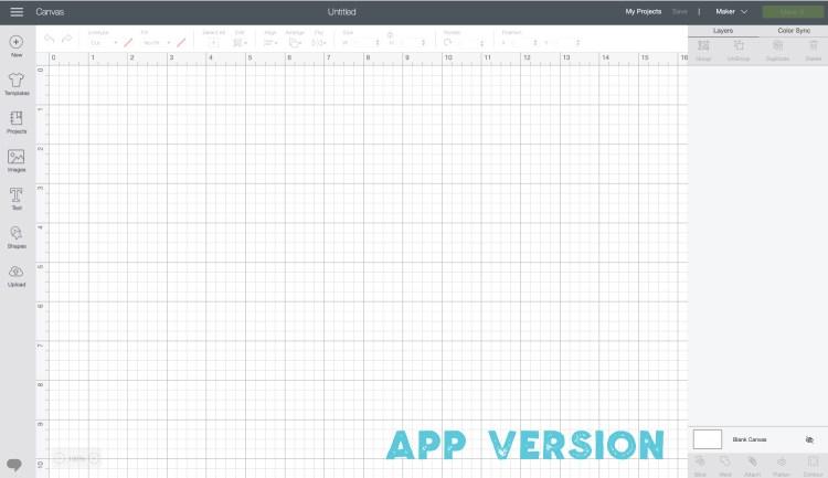 App version of Cricut Design Space