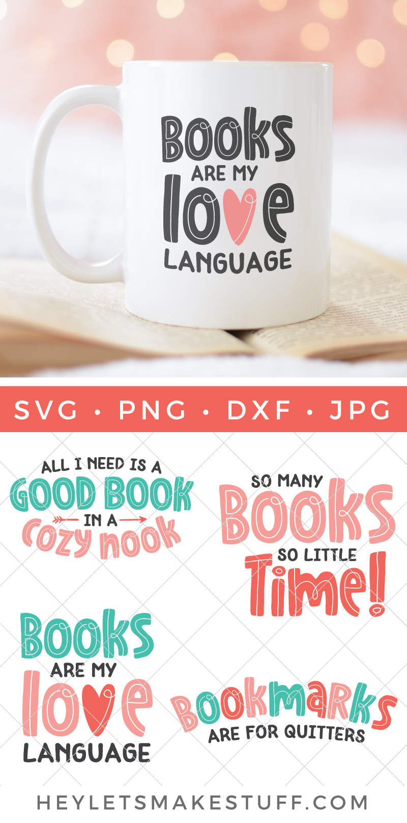 Use these book SVGs to declare your love for reading! There are four book SVG files total so you can show off your love for reading in so many different ways. Perfect for fellow bookworms, no matter their favorite genre! via @heyletsmakestuf