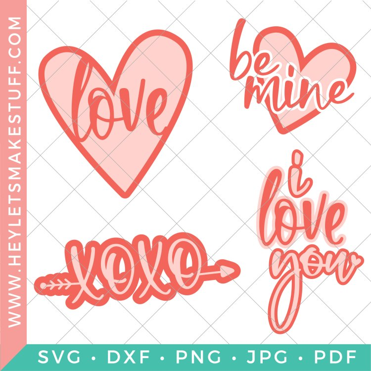 Grab this love SVG bundle to get ready for Valentine's Day! There are four cut files so you can spread love all over! These adorable designs are perfect for all ages!