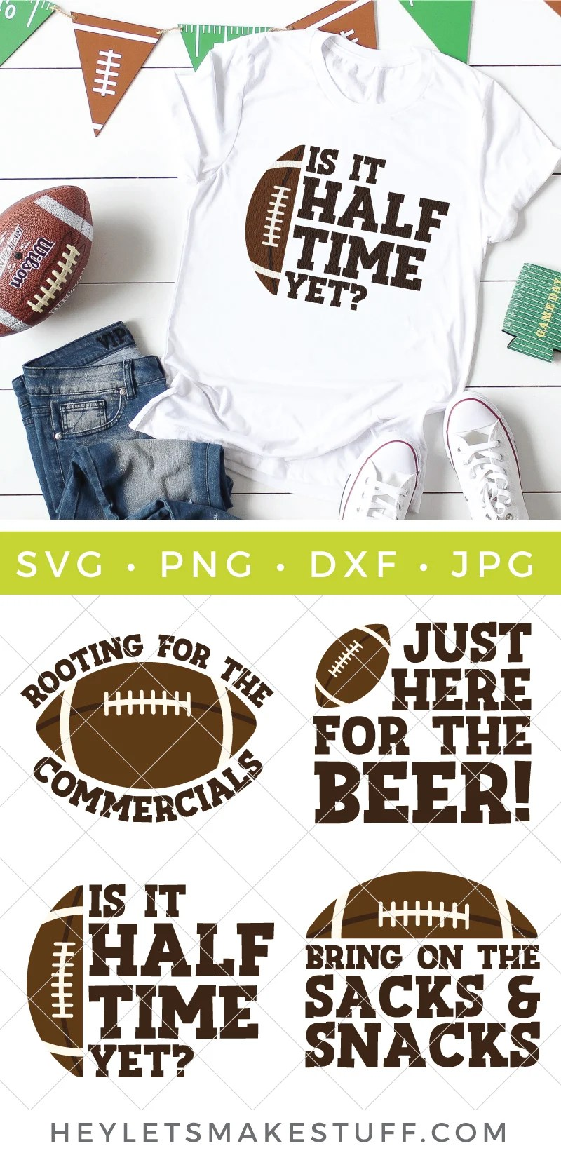Grab these Super Bowl SVG files to get ready for the Big Game! Don a game day hat, shirt, mug, or plate for all those Super Bowl snacks with these adorable Super Bowl SVG files! via @heyletsmakestuf