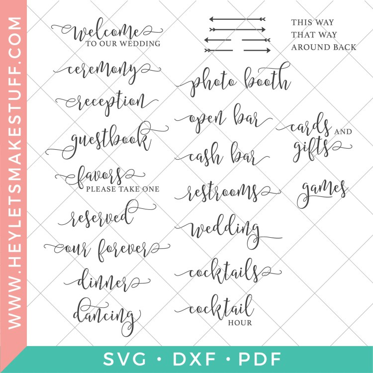 Whole bundle of wedding sign SVG files