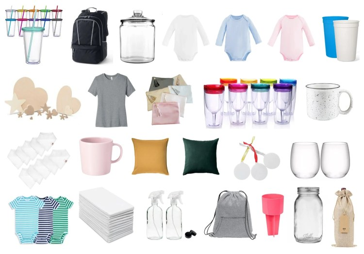 Looking for t-shirts, tote bags, and tumblers? Want to find onesies, mugs, and wooden signs? This is the ultimate guide to finding the best blanks for Cricut projects you make!