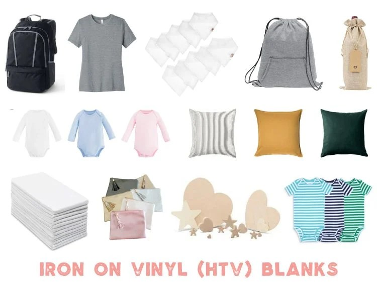 All sorts of different blank items to use with printable iron on