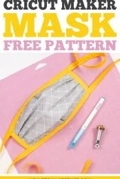 This free Cricut N95 Mask Cover pattern is designed to go over an N95 respirator mask. Make it easily by marking and cutting the pattern with your Cricut Maker's rotary blade.