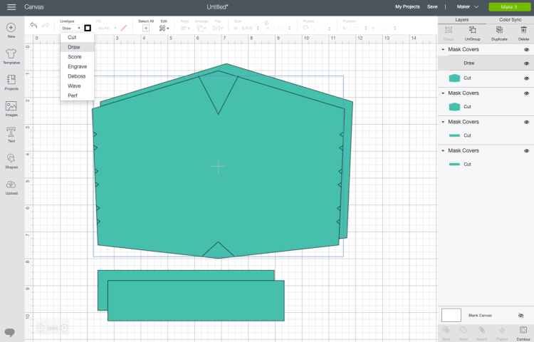 """Design Space: Change the markings layer to """"draw"""" linetype"""