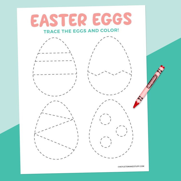 Easter egg tracing worksheet on teal background