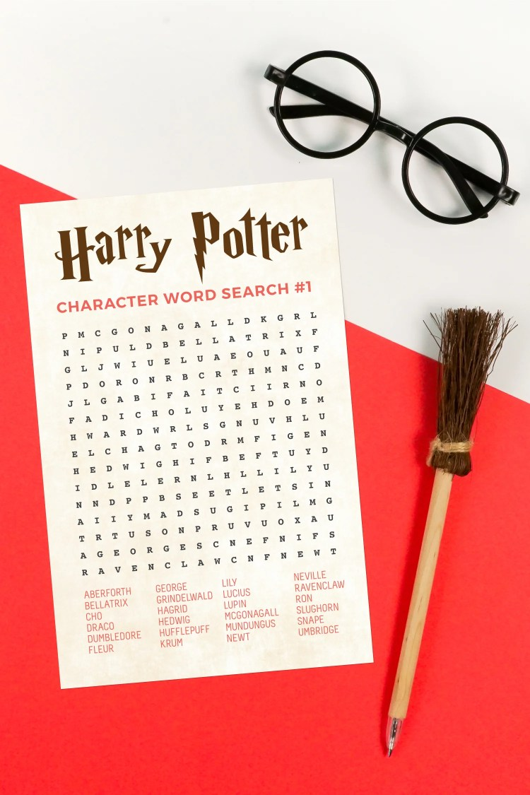 Printable Harry Potter Word Search With Characters Hey Let S Make Stuff