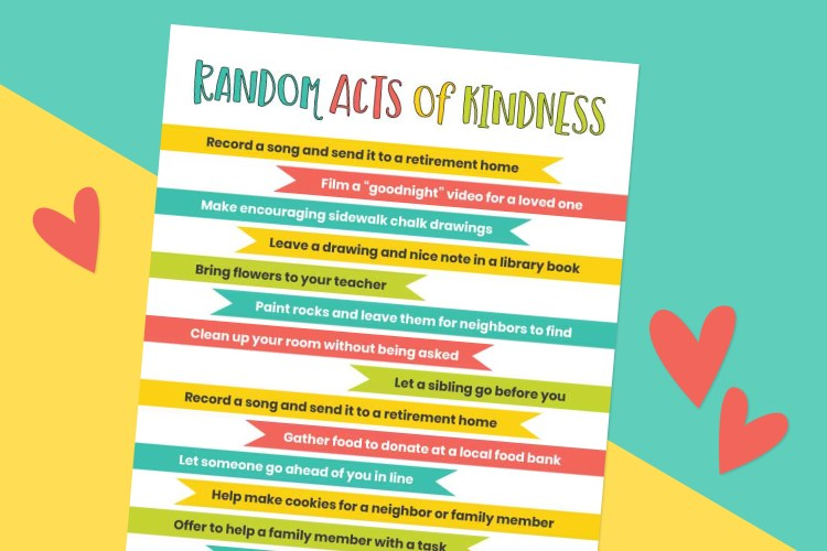 Random acts of kindness for kids printable on a blue and yellow background with red hearts