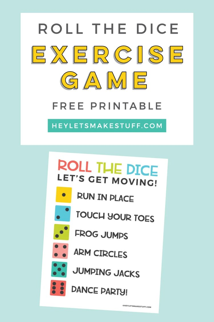 Roll the Dice Exercise Game pin image