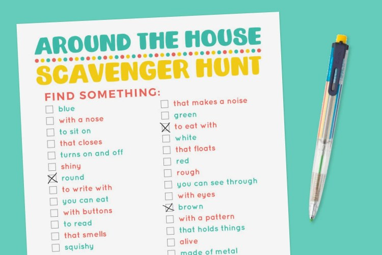 "Printable ""Around the House"" scavenger hunt on a blue background with pen."