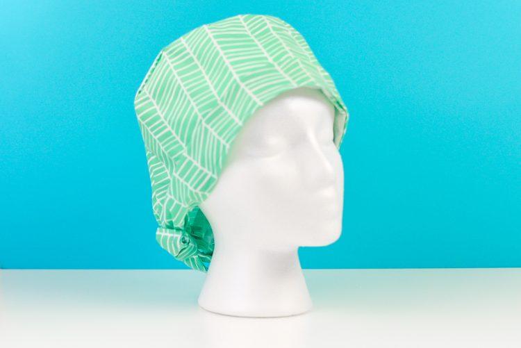 Scrub cap pattern made with the Cricut Maker on a foam head