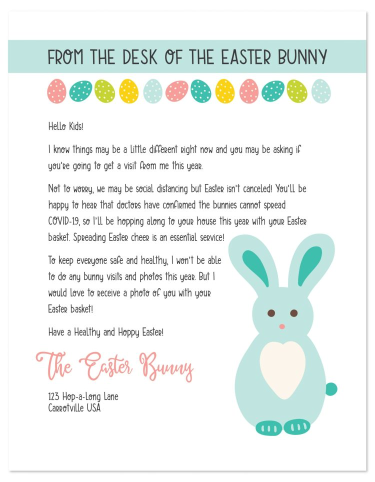 Easter bunny letter with COVID-19 content