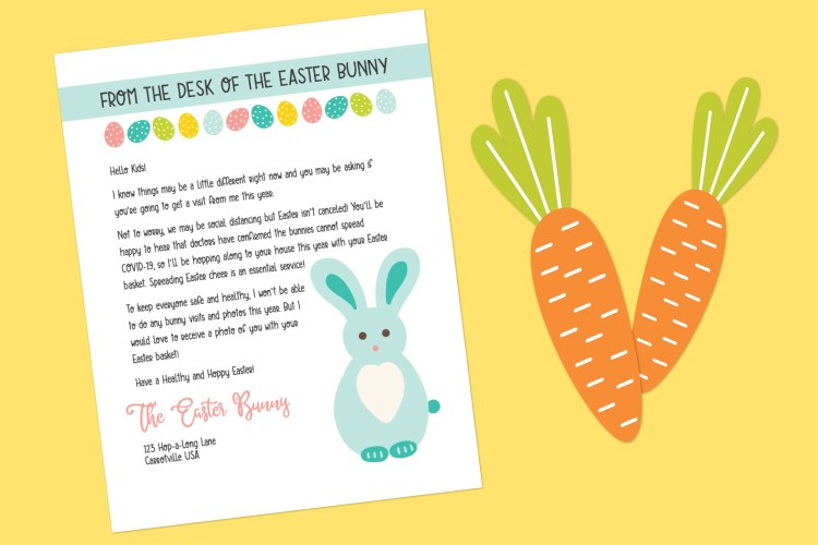 Letter from the Easter Bunny on yellow background with carrots.