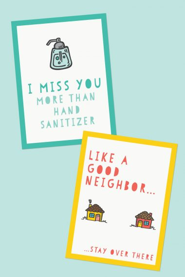Under quarantine? Social distancing? When the world feels so dark, these cards will bring a smile to anyone's face. We hope these free funny printable quarantine cards will lift the spirits of someone you love!