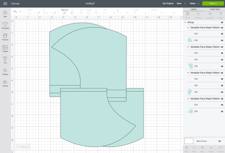 Upload the mask SVG to Cricut Design Space