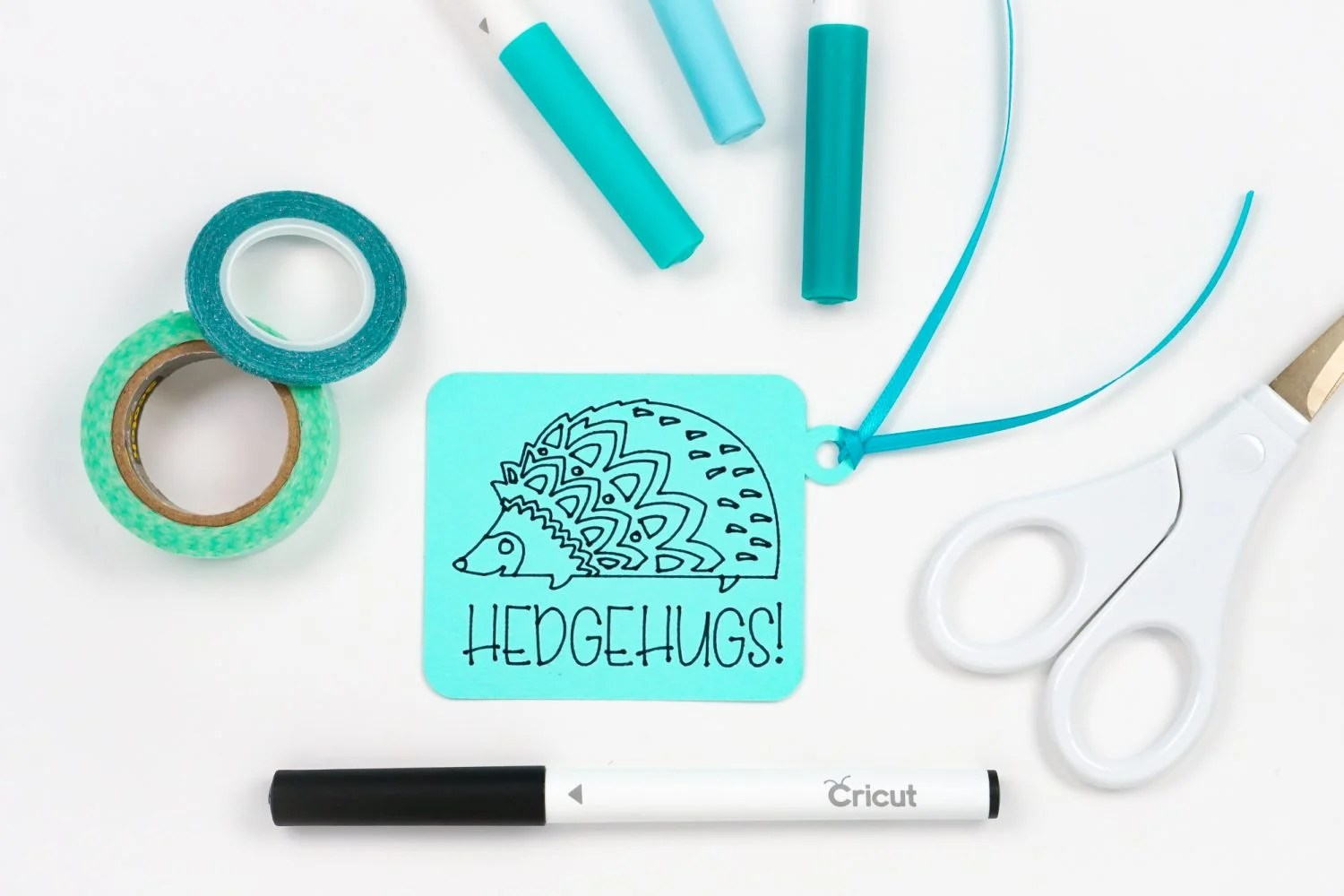 Hedgehugs tag made with Cricut, cardstock, and pen
