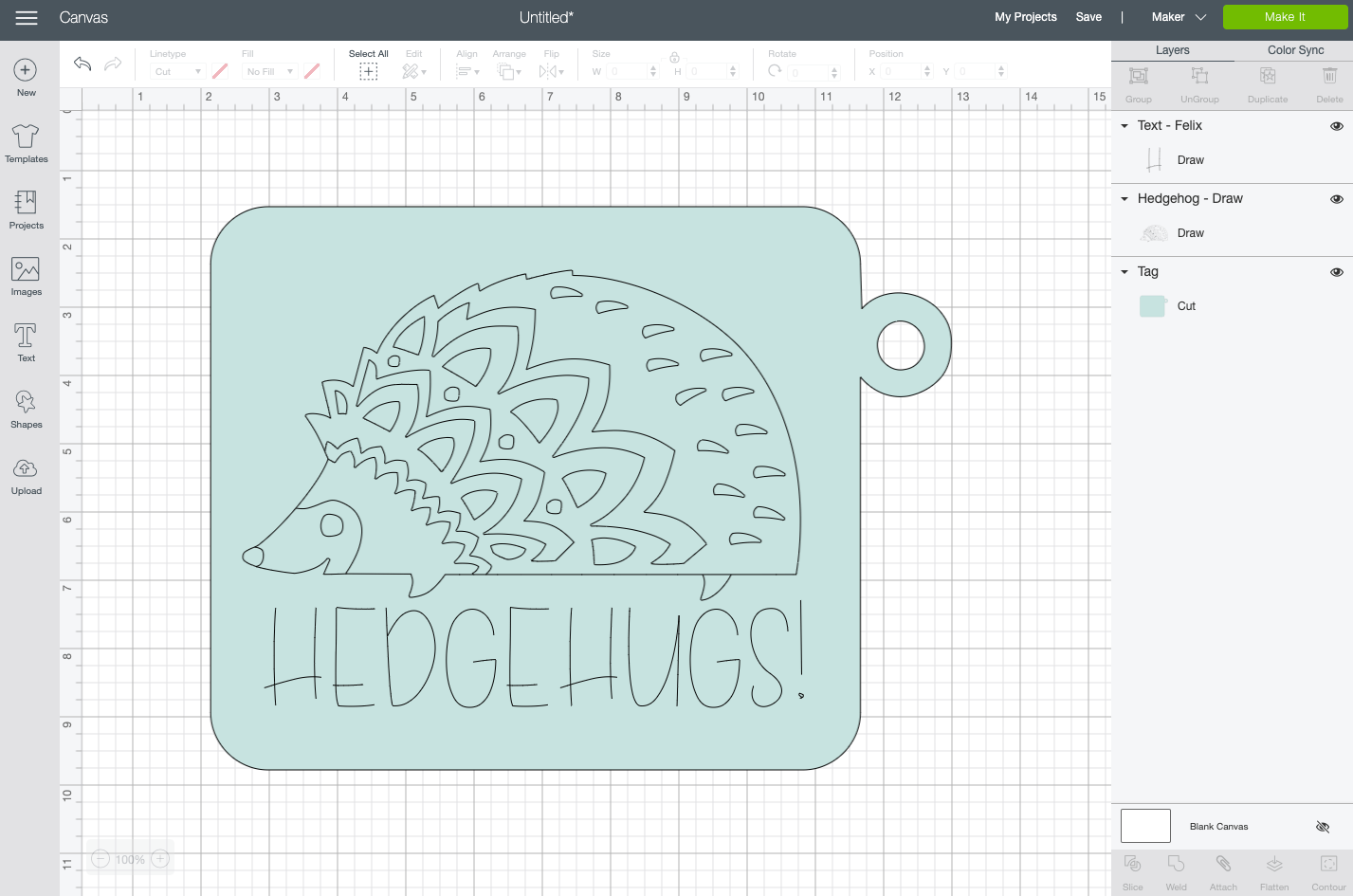 Cricut Design Space: Draw image on top of blue tag