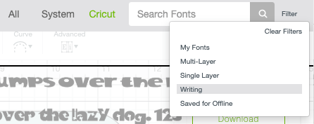 Cricut Design Space: Selecting writing-style fonts