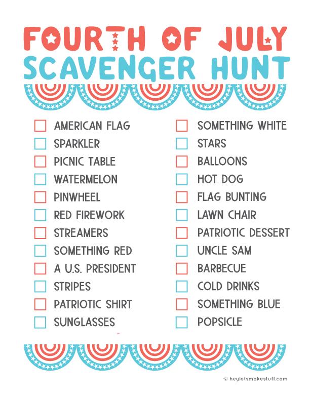 4th of July scavenger hunt
