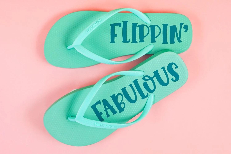 Finished flip flops on a pink background