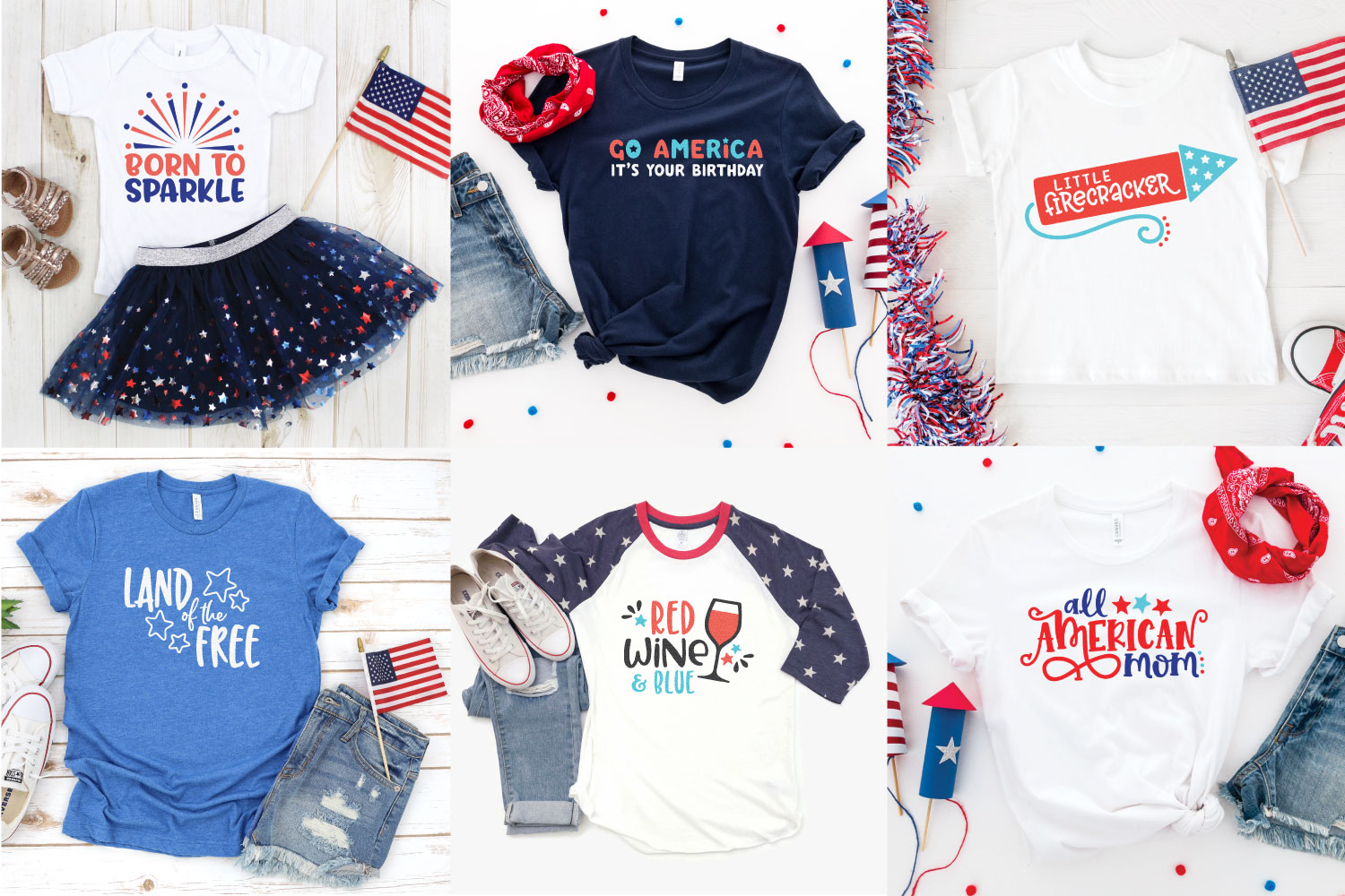 Collage of different projects made with the files in this 4th of July SVG Bundle.