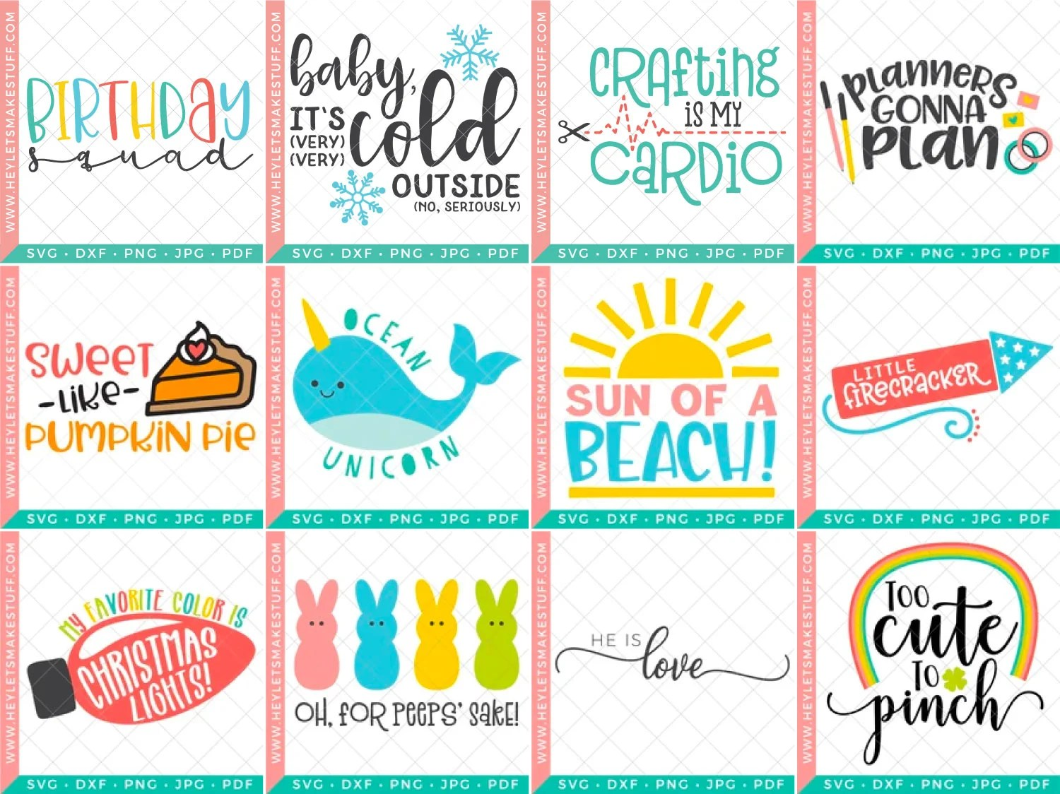 12 free cut files available on Hey, Let's Make Stuff