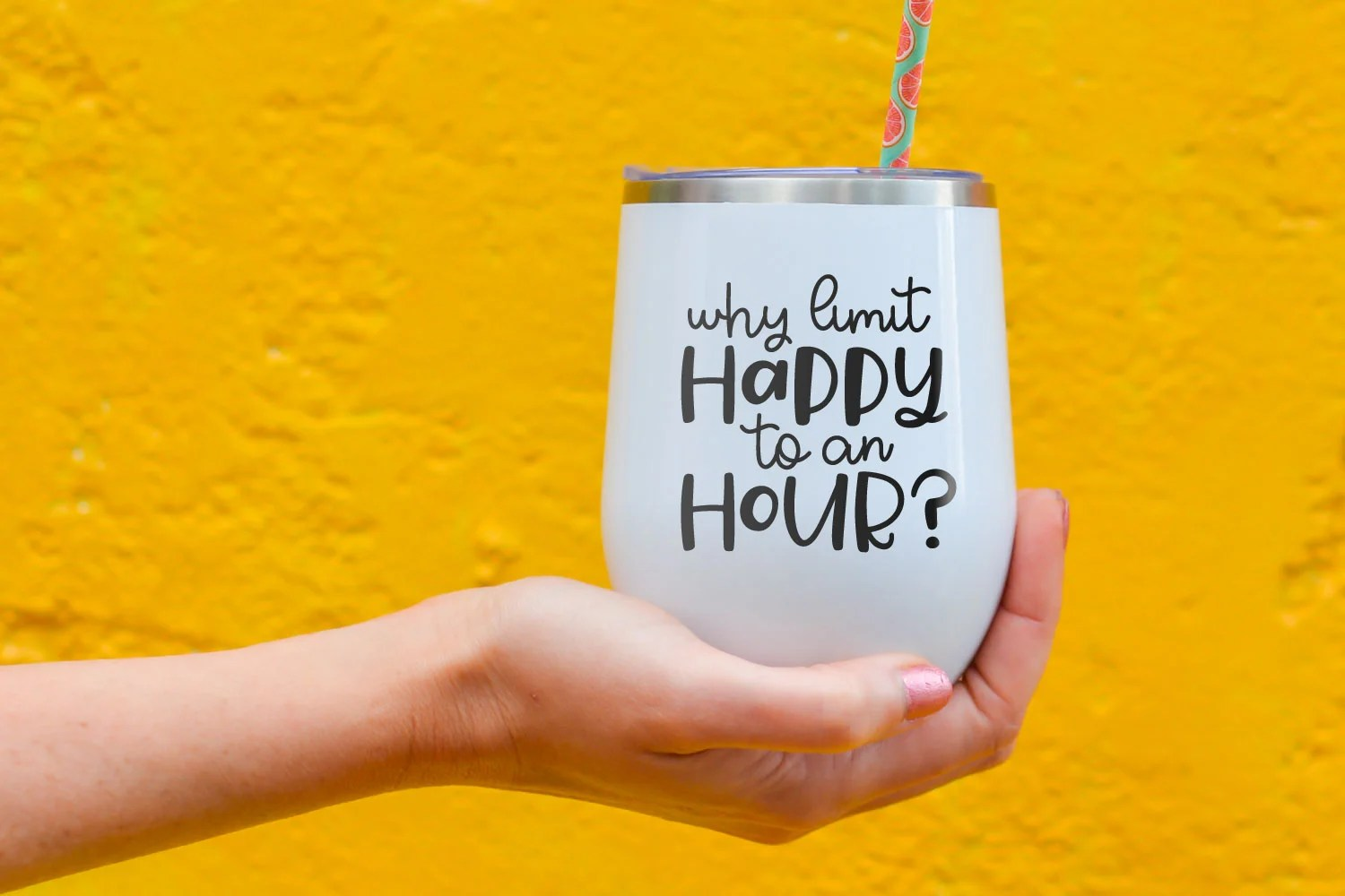 Happy hour SVG on drink tumbler