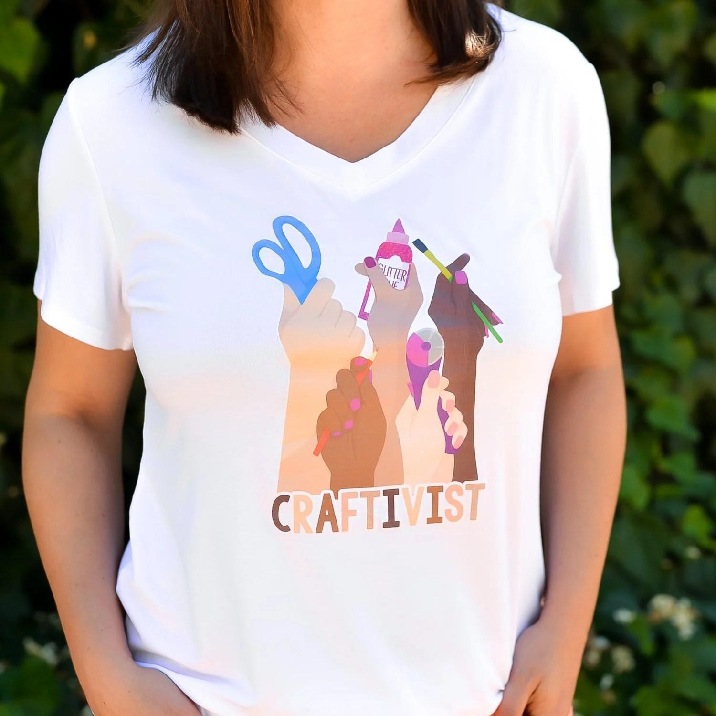Finished craftivist t-shirt using printable iron on vinyl