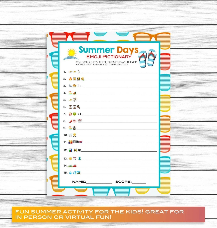 printable summer emoji game