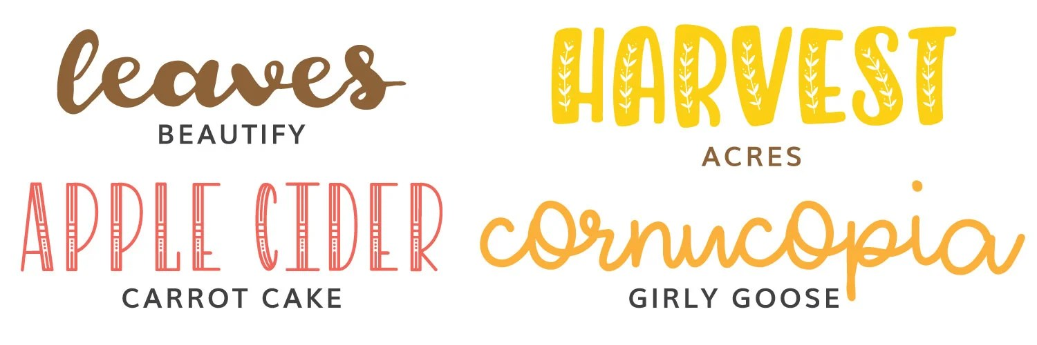 Image of first four fall fonts: Beautify, acres, carrot cake, and girly goose.